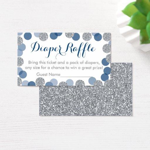 Navy & Silver Glitter Diaper Raffle Tickets
