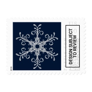 Navy Silver Glitter LOOK Snowflake Postage