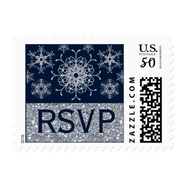 Navy Silver Glitter LOOK Snowflake RSVP Postage