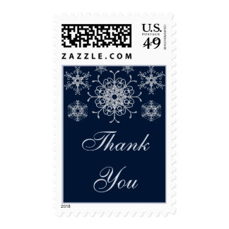 Navy Silver Glitter LOOK Snowflake Thank You Stamps