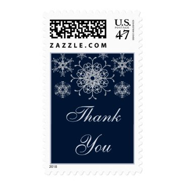 Navy Silver Glitter LOOK Snowflake Thank You Postage Stamp