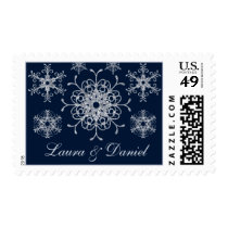 Navy Silver Glitter LOOK Snowflake Wedding Postage