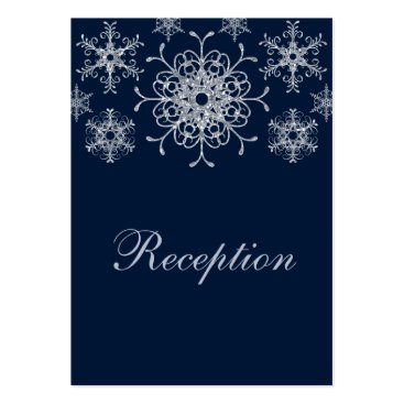 Navy Silver Glitter LOOK Snowflakes Enclosure Card