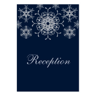 Navy Silver Glitter LOOK Snowflakes Enclosure Card Large Business Cards (Pack Of 100)