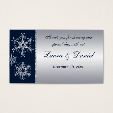 Navy Silver Glitter LOOK Snowflakes Favor Tag