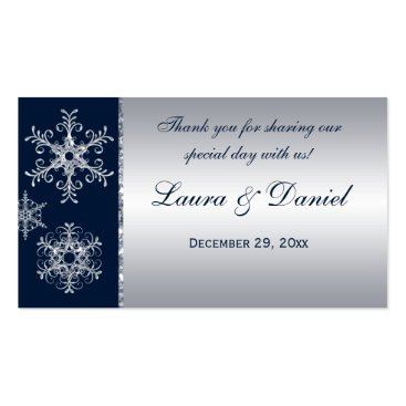 Navy Silver Glitter LOOK Snowflakes Favor Tag Business Card