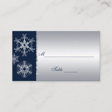 Navy Silver Glitter LOOK Snowflakes Placecards