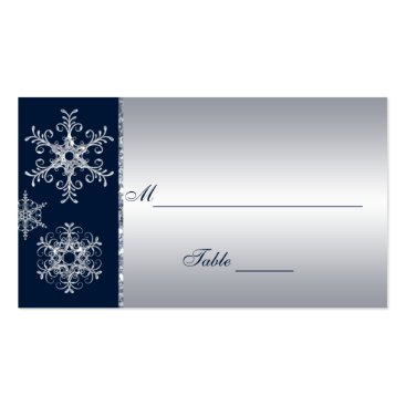 Navy Silver Glitter LOOK Snowflakes Placecards Business Card