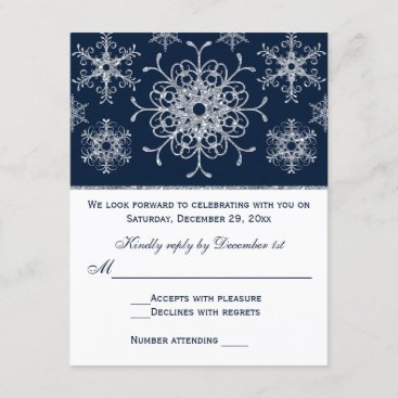 Navy Silver Glitter LOOK Snowflakes RSVP Card