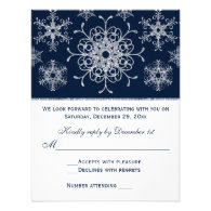 Navy Silver Glitter LOOK Snowflakes RSVP Card Personalized Announcement