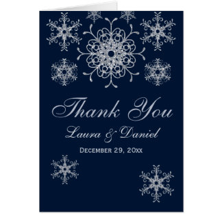 Navy Silver Glitter LOOK Snowflakes Thank You Card Greeting Card