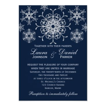 Navy Silver Glitter LOOK Snowflakes Wedding Invite