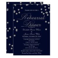 navy silver glitter rehearsal dinner invites