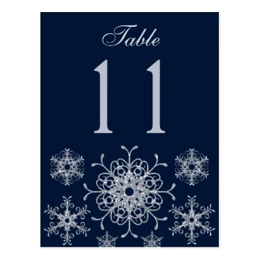 Navy Silver Glitter Snowflakes Table Number Card