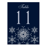 Navy Silver Glitter Snowflakes Table Number Card Postcard