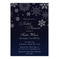 Navy Silver Glitter Winter Bridal Shower Invite