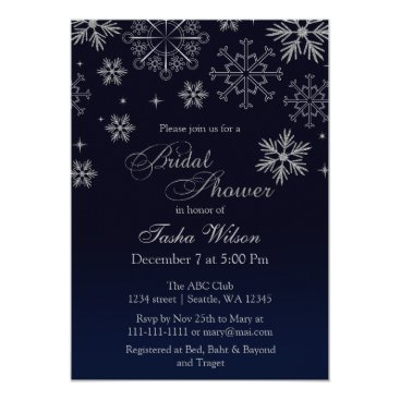 Navy Silver Glitter Winter Bridal Shower Invite