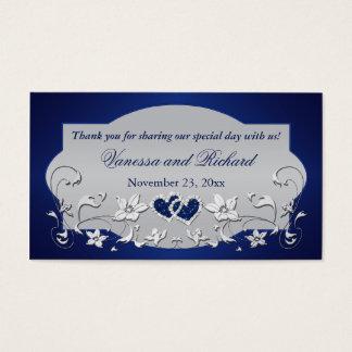 Navy, Silver Gray Floral, Hearts Wedding Favor Tag