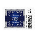 Navy, Silver Gray Floral Hearts Wedding Postage