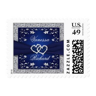 Navy, Silver Gray Floral Hearts Wedding Postage
