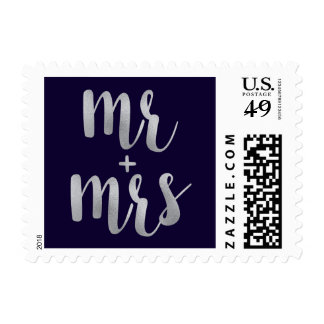 Navy & Silver newlywed stamps