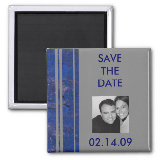 Navy & Silver Save the Date Photo Magnet
