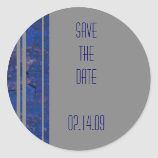 Navy & Silver Save the Date Sticker