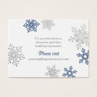 Navy Silver Snowflake Winter Wedding Insert Cards