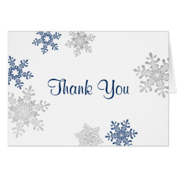 Navy Silver Snowflake Winter Wedding Thank You Card