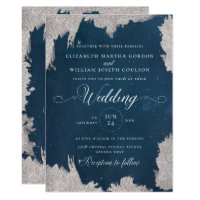 Navy Silver Star Celestial Winter Wedding Card
