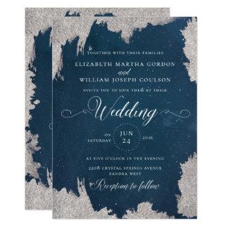 Navy Silver Star Celestial Winter Wedding Card