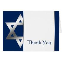Navy Silver Star of David Bar Mitzvah Thank You