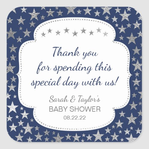 Navy Silver Twinkle stars thank you favor Square Sticker