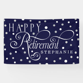 Navy, Silver, White, Modern Retirement Party Banner