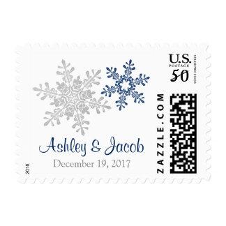 Navy Silver White Snowflake Winter Wedding Postage