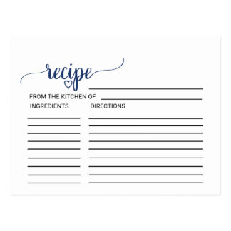 Navy Simple Calligraphy Bridal Shower Recipe Cards