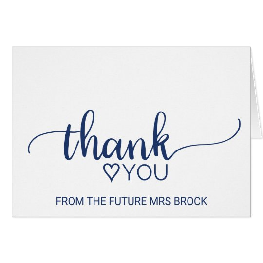 Navy simple calligraphy bridal shower thank you card