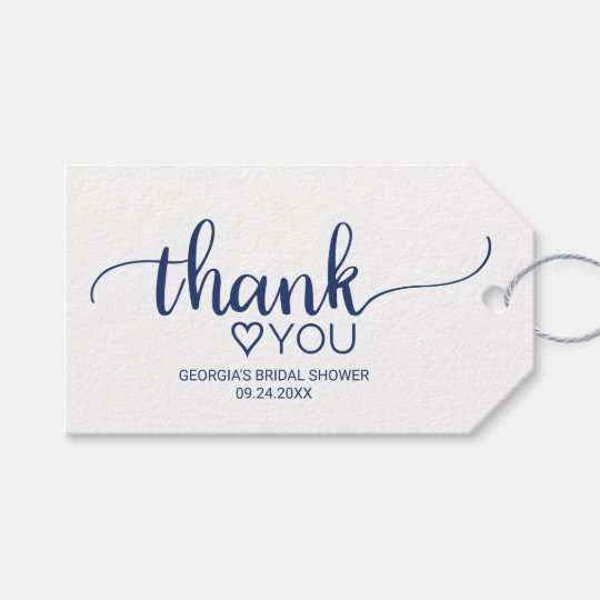 navy simple calligraphy thank you bridal shower gift tags