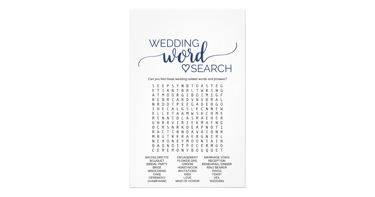 Navy Simple Calligraphy Wedding Word Search Game Flyer