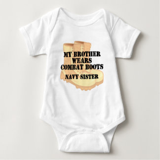 Navy Sister Brother DCB Baby Bodysuit