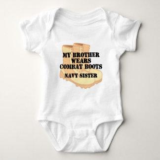 Navy Sister Brother DCB Baby Bodysuit