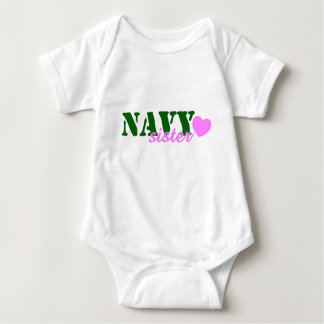 Navy Sister Green Pink Heart Baby Bodysuit