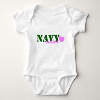 Navy Sister Green Pink Heart Baby Bodysuit