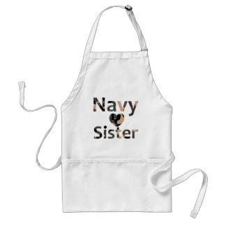 Navy Sister Heart Camo Adult Apron