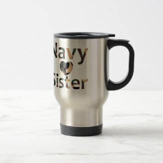 Navy Sister Heart Camo Travel Mug