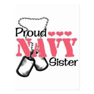 Navy Sister Hearts Post Card