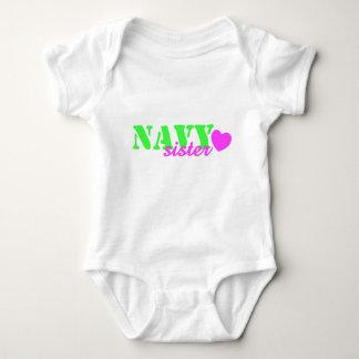 Navy Sister Lime Green Heart Baby Bodysuit