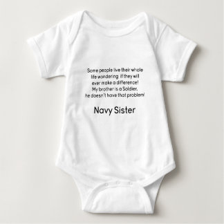 Navy Sister No Problem Brother Baby Bodysuit
