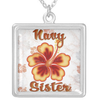 Navy Sister with hibiscus Square Pendant Necklace