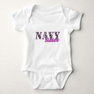 Navy Sister Zebra Baby Bodysuit